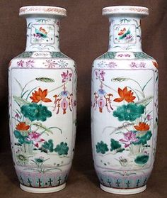 Mirror-Pair-11-75in-Chinese-Famille-Rose-Rouleau-Vases-19th-Century $910 newdynasty