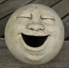 Laughing moon garden sculpture, clay...Great inspiration for making your own work of art for your garden!: