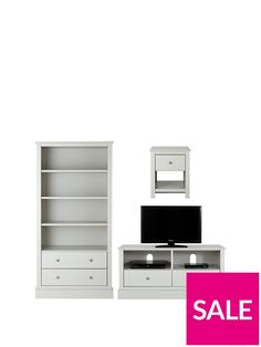 SAVE with this Ready Assembled 3 Piece Living Room Set by Consort that gives you a Storage Bookcase, TV Unit and Lamp Table for a far lower price than if purchased individually. Ready assembled* for a style you'll be able to admire right away, this 3 piece living room furniturepackage deal from Consort'sBritish-made Dover collection is finished in a smart grey tone that will help the colours of your walls and decorative pieces really pop. Styled with chunky plinths that gives each piece a…