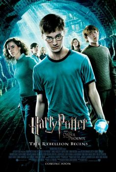 "11x17 Inch Harry Potter and the Order of the Phoenix poster features Harry Potter holding the crystal ball containing the prophecy, Hermione Granger, Ron Weasley, Ginny Weasley, Neville Longbottom, and Luna Lovegood. The text below the title reads, ""THE REBELLION BEGINS"". Get it now at http://harrypottermovieposters.com/product/harry-potter-and-the-order-of-the-phoenix-movie-poster-style-h-11x17-inch-mini-poster/"