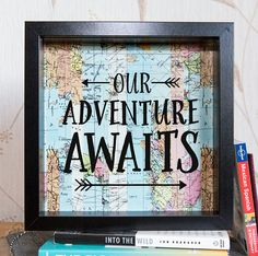 Our Adventure Awaits - This saving frame is the perfect way to save for the trip of a lifetime! ___________________________________________________________________________________ H O W - D O E S - I T - W O R K ? Put coins or notes of any currency into the slot at the top and watch