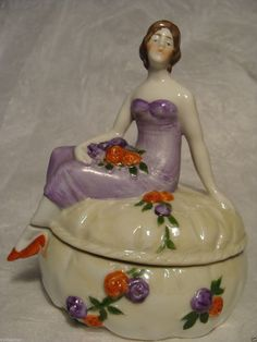 Antique Sitzendorf German Lady Trinket Powder Box Jar Pot Germany Half Doll Re | eBay