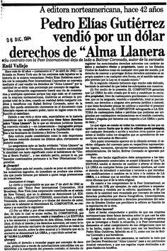 """Pedro Elías Gutiérrez vendió el """"Alma Llanera"""". Publicado el 6 de diciembre de 1984."""