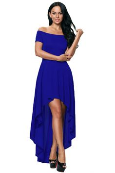 369fe41d8d8 Dear lover Summer 2017 Plus Size Formal Party Dress Blue High Low Hem Off  Shoulder Women Maxi Dress Vestidos Elegant LC61437