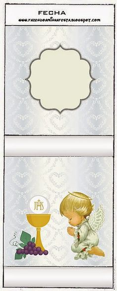 Primera Comunión: Etiquetas Candy Bar con Diseño en Plateado y Ángeles de Precious Moments para Imprimir Gratis. | Oh My Primera Comunión!