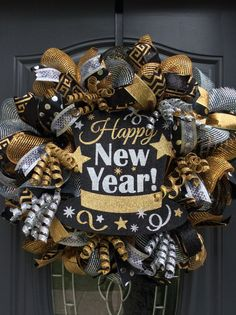 Ready to ShipNew Year Wreath-New Year's Eve by WreathsbyKimby