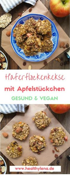 Gesunde Haferflockenkekse mit Apfelstückchen – vegan, fettarm & glutenfrei