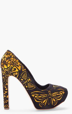 Gold Suede Embossed Butterfly Pumps. I don't like gold, but I would rock these :)