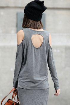 Off Shoulder Cut-out Dark Grey T-shirt