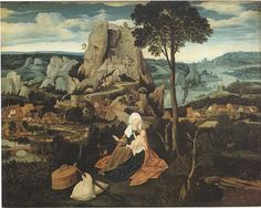 Joachim Patinir, Landschap met rust op de vlucht naar Egypte ca. 1515 - Gemaldegalerie Berlijn - Pier en Oceaan-Oek de Jong