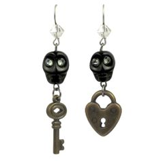 "GOTHIC GARDEN ""SECRETS"" LOCK & KEY EARRINGS - Sale - TARINA TARANTINO"