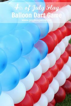 Make a 4th of July Flag Balloon Dart Game for a festive and fun kids activity that will POP! #4thofjuly #partyideas #summerpartyideas #fourthofjuly #diygame #summergame #parties