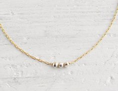 tiny gold & sterling silver beads necklace