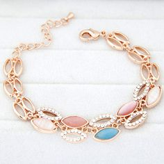Coral Multicolor Diamond Decorated Oval Shape Design Alloy Korean Fashion Bracelet :Asujewelry.com