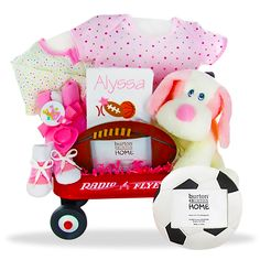 The Girl mini Wagon Sport Personalized Gift Basket Price: $99.00 #GiftBaskets4Baby #Girl #gifts #giftbaskets #Baby For more information visit: www.GiftBaskets4Baby.com