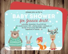 Winter Woodland Animals Baby Shower Invitation, winter baby shower, forest friends baby shower, Christmas shower, boy or girl shower