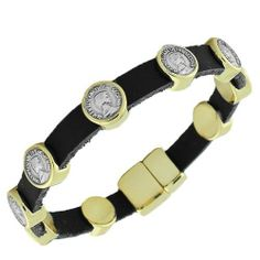 Black Leather Yellow Gold Tone Coin Design Womens Bangle Bracelet with Clasp Daily Diamond Deal. $15.99. Lowest Price Guaranteed!. Approx. Width (in Inches): 0.44. 7.5 Long (in Inches). Leather, Material: Alloy. Save 20%!