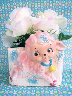 Vintage Kitschy Cute E. O. Brody Co. Baby Lamb Sheep Pastel Nursery Flower Pot Planter. $14.00, via Etsy.