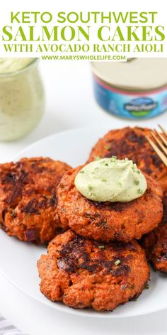 These Southwest Salmon Cakes with Avocado Ranch Aioli make an easy 30-minute Whole30 & Keto dinner with a little kick – just the way I like it. A simple salmon cake recipe with a southwest twist and the yummiest aioli sauce for dipping! These salmon cakes are Whole30 friendly, paleo, and Keto! #Whole30SalmonCakes #Whole30AioliSauce #MarysWholeLife Easy Paleo Dinner Recipes, Whole30 Recipes, Keto Dinner, Real Food Recipes, Breakfast Recipes, Healthy Recipes, Yummy Appetizers, Appetizer Recipes, Aioli Sauce