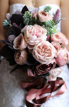 Wedding bouquet bride burgundy boho brown ivory pink vintage succulent rustic