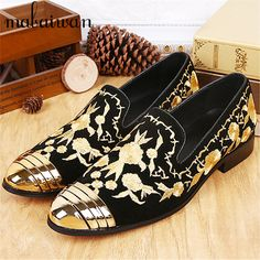>> Click to Buy << 2017 Fashion Wedding Dress Shoes Flats Trainers Espadrilles Men Customized Casual Flat Shoes Gold Embroidery Suede Loafers #Affiliate