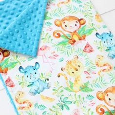 Awesome little jungle animals personalized blanket 🦏🐵🐆🌿 Stroller Blanket, Minky Blanket, Tropical Nursery Decor, Aviation Nursery, Woodland Crib Bedding, Baby Boy Cribs, Custom Baby Gifts, Jungle Nursery, Baby Boy Blankets