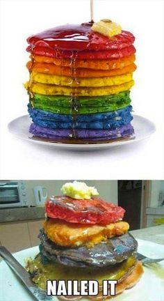 Fail on rainbow pancakes Pin Fails, Funny Fails, Great British Bake Off, Pinterest Fails, Pinterest Recipes, Pinterest Projects, Pinterest Cake, Pinterest Food, Ricky Martin