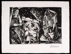 Minotauro Cego Guiado por uma Menina na Noite. Água-forte sobre papel texturizado de Montval. Suíte Vollard 97. 1934. Pablo Ruiz Picasso (1881-1973). Encontra-se no Museu Nacional Centro de Arte Rainha Sofia, em Madri, Espanha.