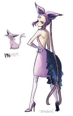Pokemon Gijinka   196.  Espeon  197.  Umbreon  >>see 1st gen Eevees gijinkas