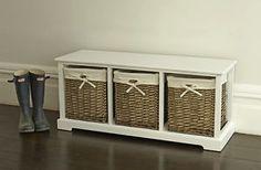 Shabby Chic Three Drawer Wicker Storage Unit Bench Hallway, Livingroom   eBay