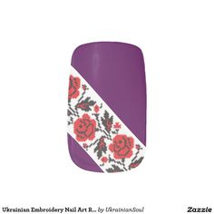 """CLICK """"MINX"""" TO PURCHASE Ukrainian Embroidery Nail Art Red Roses Minx® Nail Art"""