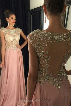 Pink Prom Dresses, Beaded Prom Dress, Open Back Evening Gowns, Chiffon Party Dresses, Sexy Formal Dresses
