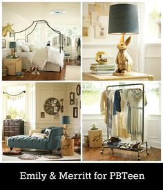 I would totally use the denim chaise and clothing rack for my future home- emily and merritt for pbteen