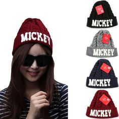 Unisex Mens Womens Mickey Mouse Disney Beanie Ribbed Crochet Knit Skull Winter #hellobincom #Beanie