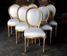 Six Stunning Gilded French Louis XVI Style Dining Chairs Rosette Crest | eBay