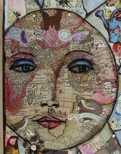Collage: Made from pages from a world atlas / My Art Journal Collages, Art Journal Pages, Art Journals, Mixed Media Collage, Collage Art, Mix Media, Art Simple, Photocollage, Art Journal Inspiration