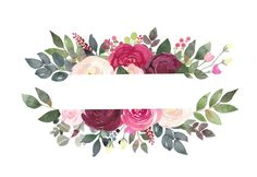 Acuarela Floral Clipart Borgoña y Blush flores Marcos Logo Floral, Framed Wallpaper, Wallpaper Backgrounds, Vintage Flower Backgrounds, Watercolor Flowers, Watercolor Paintings, Watercolor Wedding, Oil Paintings, Blush Flowers