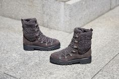 With a lug sole and plush shearling along the sides and tongue, the Isla lace-up hiker boot is the perfect combination of rugged and cozy. Sigerson Morrison, Hiking Boots, Plush, Fall Winter, Lace Up, Fashion, Walking Boots, Moda, Fasion