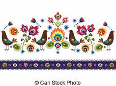 Folk Pattern With Birds - polish folk traditinal design