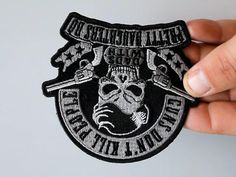 Guns Don't Kill People Dads with Pretty Daughters Do Iron on Skull Pistols Patch