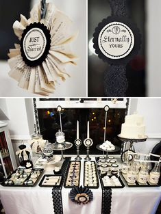 Vintage Gothic Wedding Dessert Table - Lots of grey, cream, off-white, silver and black. Could also be a for a Twilight-themed party. Deco Buffet, Dessert Buffet, Deco Table, Dessert Tables, Party Tables, Candy Buffet, Wedding Table, Our Wedding, Dream Wedding
