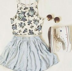floral crop top, skater skirt, converse & circle sunnies || zazumi.com