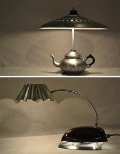 Recycled metal table lamps.