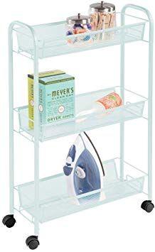 Mdesign Portable Rolling Laundry Utility Cart Organizer Trolley