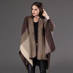 New Women Poncho grid Scarf personalized Poncho Women's Knit Shawl Scarf Poncho