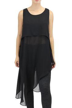 Sheer chiffon three layered tunic with a diagonal hemline design.Easy Care machine washable no ironing required.Sizes are Australian. AUS 4 = US 1; AUS 6 = US 2; AUS 8 = US 4; AUS 10 = US 6; AUS 12 = US 8; AUS 14 = US 10; AUS 16 = US 12; AUS 18 = US 14; AUS 20 = US 16  Front Length (top layer): 40cm from top of shoulder to hem Shortest Side Length (middle layer): 72cm from top of shoulder to hem Longest Side Length (under layer): 120cm from top of shoulder to hem  Crepe Dallas Tunic by…