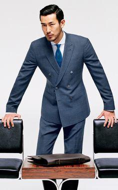 Double-breasted wool suit by Paul Smith London. Cotton shirt by Eton of Sweden. Silk tie by Paul Stuart; paulstuart.com. Leather briefcase by Salvatore Ferragamo
