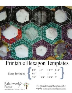 12 Different Hexagon Templates Printable. patchworkposse.com