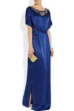 Temperley London|Long Deco embellished silk-satin gown|NET-A-PORTER.COM