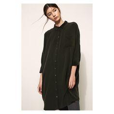 Oversize shirt dress dark green | Kokoon